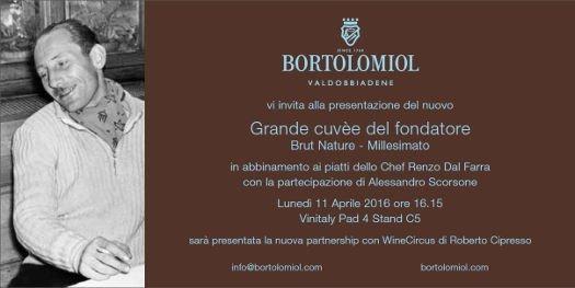 Grande cuvèe del fondatore di Bortolomiol al Vinitaly 2016
