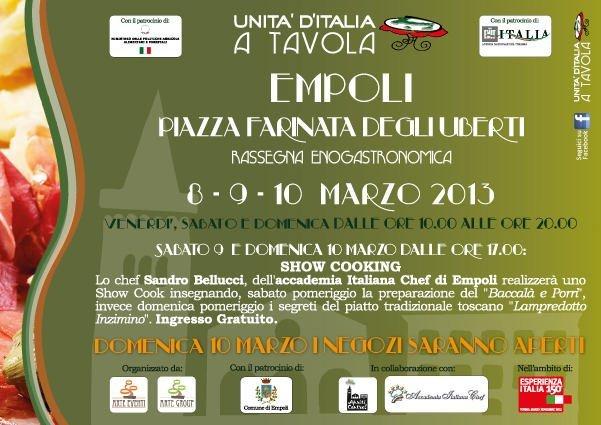 Unità d'Italia a Tavola a Empoli, rassegna enogastronomica